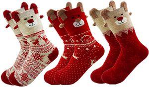 3 Paar Weihnachtssocken Damen Baumwolle Winter Warm Weihnachten Socken Rentier Schneeflocke Socken Weihnachtsgeschenke Für Frauen 34-40