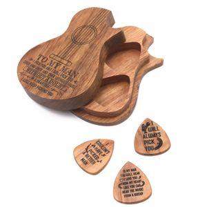 Gitarrenzubehoer Holzgitarrenpickel Holzgitarren-Pickbox und Picks Gitarrenpickel Plektrum-Aufbewahrungsbox Eine Box + drei Picks