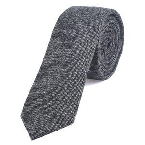 DonDon Herren Krawatte 6 cm Baumwolle schwarz-grau gepunktet