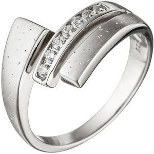 JOBO Damen Ring 54mm 925 Sterling Silber matt mattiert mit Zirkonia Silberring