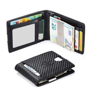 ECDER Geldbeutel Geldbörse Brieftasche Portemonnaie Wallet Carbon Design mit RFID Geldklammer Herren Geschenk