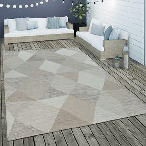 In- & Outdoor Flachgewebe Teppich Geometrisch Muster Rauten Muster In Beige, Grösse:80x150 cm
