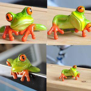 1 Paar 3D Frosche Figur Dekofiguren Tierfiguren Dekoration für Tisch Auto Büro