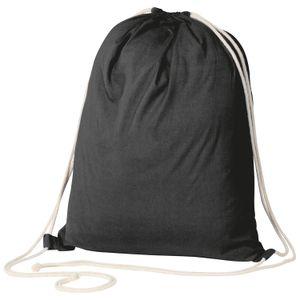 Gymbag / Sportbeutel / Turnbeutel aus Baumwolle / Farbe: schwarz