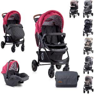 Lorelli Kombikinderwagen Daisy 2 in 1, Babyschale, Sportsitz, Fußabdeckung, Farbe:rot