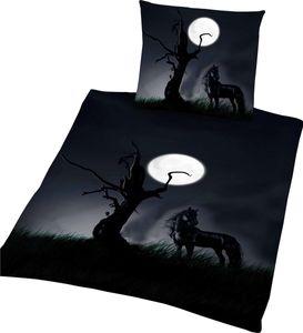 Renforce Bettwäsche schwarzes Pferd bei Vollmond 135x200cm Pferde Rappe