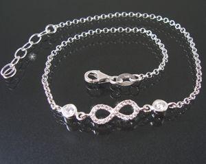 Fußkette Fuß Kette 925 Silber 24-27cm Infinity Liebe Zirkonia 23020-27