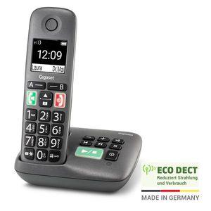 Gigaset EASY mit Anrufbeantworter – Schnurloses Senioren-Telefon mit großen Tasten, extra laut – hörgerätekompatibel, anthrazit-grau