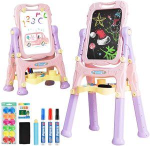 COSTWAY 2 in 1 Kindertafel, Kinder Staffelei doppelseitig, Whiteboard und Kreidetafel, Schreibtafel magnetisch, Standtafel hoehenverstellbar, Spieltafel mit Malzubehoer und grossem Ablagefach Rosa