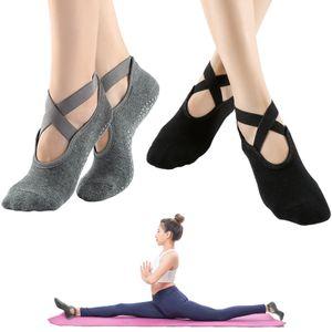 2 Packungen rutschfeste Yoga-Socken fuer Frauen mit Riemen fuer das Indoor Yoga Pilates Dance Ballet