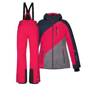 Skianzug Kinder Jacke + Hose Gr 176 - blau pink - 176   Pink