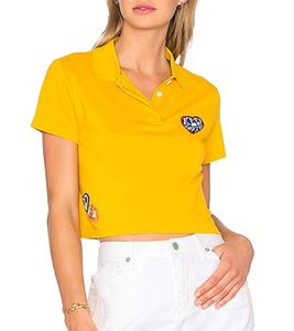 TOMMY HILFIGER x Gigi Hadid Poloshirt cooles Damen Cropped-Shirt Gelb, Größe:L