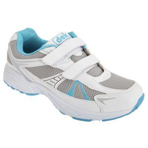 Dek Moon Damen Turnschuhe / Sneakers / Sportschuhe, mit Klettverschluss DF931 (39,5 EU) (Weiß/Blau)