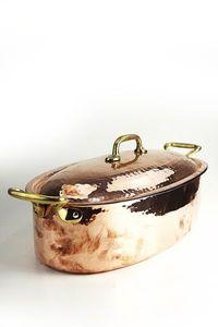 CopperGarden® Bräter aus Kupfer - XXL = 40 cm groß - mit Deckel und Griffen