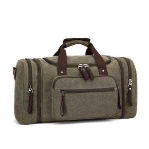 Vintage Canvas Reisetasche Sporttasche weekender Tasche für Damen und Herren mit der Großen Kapazität (Armygrün)