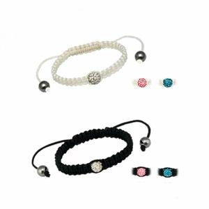 Nylon WT-WEISS - RS - Rose / Rosa - Shamballa Armband - Makramee - 8mm Ferido Ball - Kristall