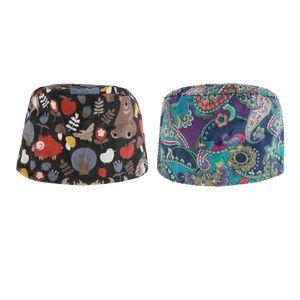 2 Stück Kochmütze Bistromütze Mütze Koch Berufsbekleidung Bistrohut Bandana Kopftuch Kopfbedeckung Kochkleidung Uniform Farbe Mehrfarbig + Tiere