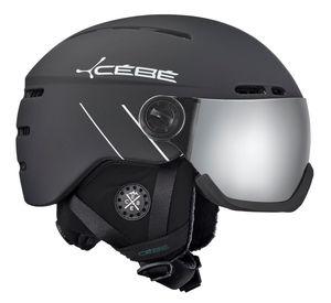 Cébé Fireball Skihelm Damen und Herren Snowboardhelm, Farbe:matt black white line, Helmgröße:Gr. 56-58cm
