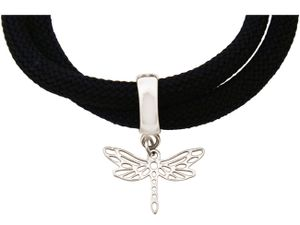 Damen Armband Wickelarmband 925 Silber Libelle Schwarz