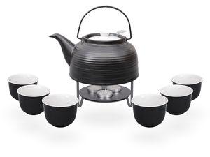 Nelly Teeset / Teeservice / Teekanne Keramik 1,5l mit Sieb, Stövchen und 6 Teetassen 120ml, schwarz/weiß