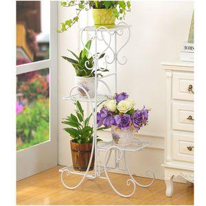 Blumenständer Blumenregal Pflanzentreppe Pflanzregal Gartenregal Ständer Metall Weiss