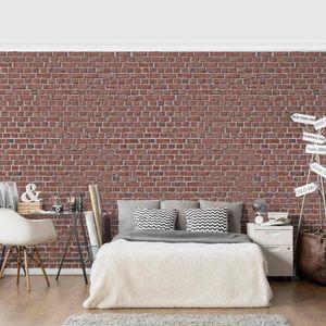 Tapete Steinoptik Vliestapete - Backstein Ziegeltapete rot - Fototapete Breit, Größe HxB:290cm x 432cm