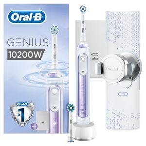 Oral-B Genius 10200W Elektrische Zahnbürste mit Zahnfleischschutz-Assistent & Premium Lade-Reise-Etui, Orchid Purple