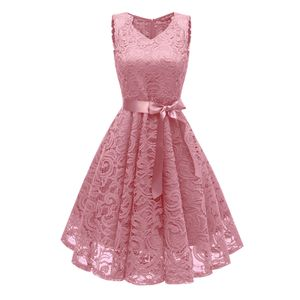 y Elegante Frauen Spitze Hallow Out Kleid aermellose V-Ausschnitt Guertel Suesse Prinzessin Party Abendkleid (S)
