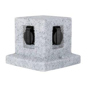 Grafner® Steinoptik Steckdosensäule mit 4 Außensteckdosen Gartensteckdose Energiesäule Granit