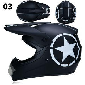 Motocross Helm Adult Off Road Helm Motorradhelm Cross Helme Schutzhelm ATV Helm mit Handschuhe Maske Brille 03 Größe L(58-59CM)