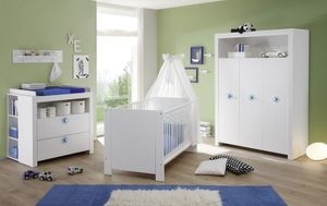 Babyzimmer  komplett Set in weiß 5-teilig inkl. abnehmbarer Applikationen in blau Baby Möbel Olivia