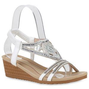 Mytrendshoe Damen Sandaletten Keilsandaletten Strass Keilabsatz Sandale 833853, Farbe: Weiß, Größe: 39