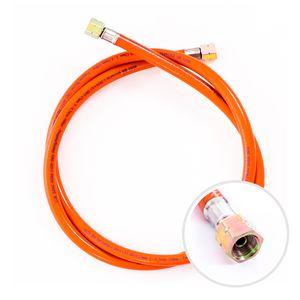 """Gasschlauch 150 cm, 1/4"""" links, Winterfest und flexibel, Orange - ideal für Gasgrills, Heizstrahler, Hockerkocher, Gaskocher, Lampen, uvm."""