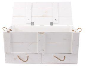 1x Große, weiße Holztruhe zum Sitzen oder zur Aufbewahrung von Wintersachen bspw., mit zwei Schubladen, neu, 85,5x42x43,5cm