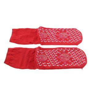 1 Paar Frauen Männer Ältere Akupunktur Selbsterwärmende Socken Strumpf Farbe rot