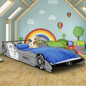 Kinderbett Formel 1 ✔95x40x230 cm ✔inkl. Lattenrost ✔Holz ✔silber Autobett Rennbett Bettgestell
