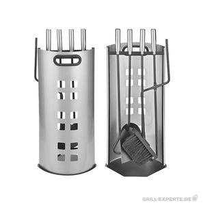 Kaminbesteck 5teilig - Metall - mit Sichtschutzblech - 4 Werkzeuge - Edelstahlgriffe