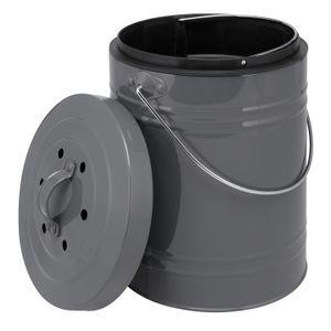 bremermann Komposteimer mit 5 Liter Inneneimer AktivkohlefilterAbfalleimer grau