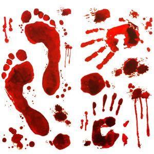Oblique Unique Halloween Sticker Blut Aufkleber - blutige Hände Füsse