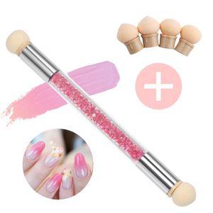 Nail Art Rendering-Werkzeuge Schwamm- undTupfpinsel, Doppelter Kopf Ombre Sponge Stick, Sponge Brush Applikator inkl. 4 Ersatzköpfe, Pigmentpinsel, Pigment Applicator