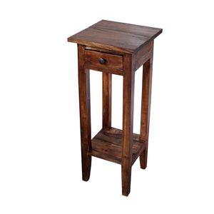 Massiver Beistelltisch HEMINGWAY 75cm Mahagoni Shabby Chic Telefontisch Nachttisch Wohnzimmertisch