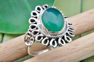 Grüner Onyx Ring 925 Silber Sterlingsilber Damenring grün (MRI 74-14),  Ringgröße:58 mm / Ø 18.5 mm