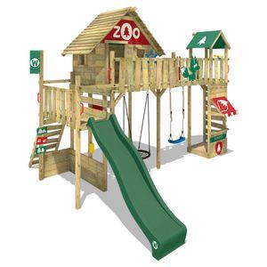 WICKEY Spielturm Klettergerüst Smart Ranger mit Schaukel & grüner Rutsche, Stelzenhaus mit Sandkasten, Kletterleiter & Spiel-Zubehör