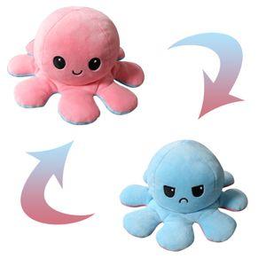 Original reversible Octopus Plushie Soft Pluesch Spielzeug Kissen Haustier Tier Zeigen Sie Ihre Stimmung, ohne ein Wort Geburtstagsgeschenk zu sagen (Pink + Hellblau)