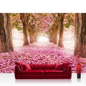 Vlies Fototapete no. 0151 - 350X245 cm - 151 Wald Tapete Herbstblätter Wald Bäume Baum Forest Herbst rosa liwwing (R)