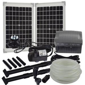 Agora-Tec® Solar Bachlauf - Pumpen - Set mit Akku und LED Licht AT-20W-BLH-V2.0
