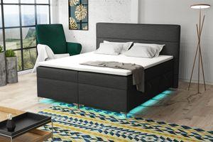 Boxspringbett Schlafzimmerbett CANELA 140x200cm inkl.Bettkasten/ LED