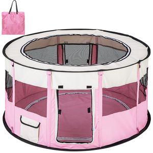 tectake Welpenlaufstall Carola aus Polyester mit Tragetasche - pink