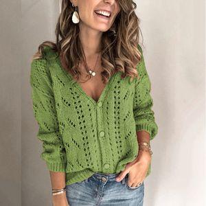 Frauen Solid V-Ausschnitt Einreiher Knöpfe Aushöhlen Kaschmir Cardigan Sweater BYP201104002 Größe:L, Farbe:Grün