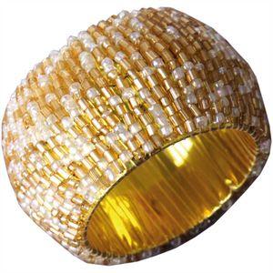 Glasperlen Serviettenring Ø4cm - Gold Silberweiß